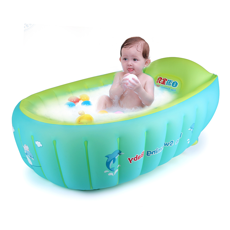 Baby Inflatable Swim Ring Bathtub Kids Folding Plastic Tub - Buy ...