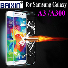 Newest Premium Tempered Glass film for samsung galaxy A3 A300 Anti-shatter Screen Protector panel guard film Free dhipping
