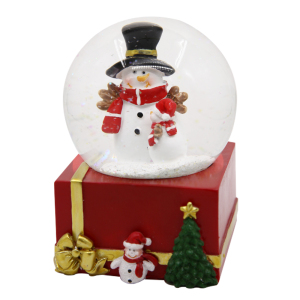 Europe style resin music box base led light snowman glass snow ball for Christmas souvenirs