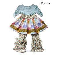 wholesale girls ruffles tunic top smocked dress and leggings pants set boutique clothes