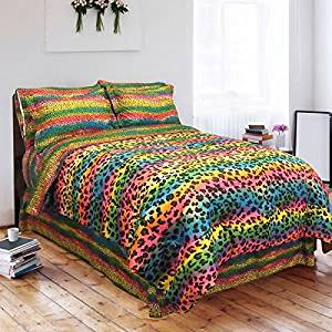 Get Quotations · Gorgeous Vibrant Rainbow Leopard Print Design Twin 6 Piece  Bed In A Bag With Sheet Set