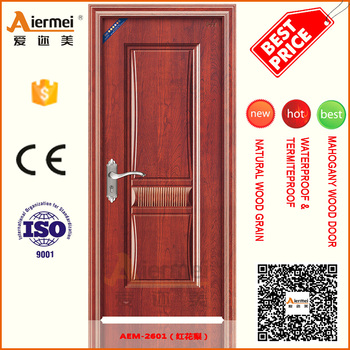 Chinese Factory Door Commerical Pvc Covering Interior Steel Wooden Single  Door Design