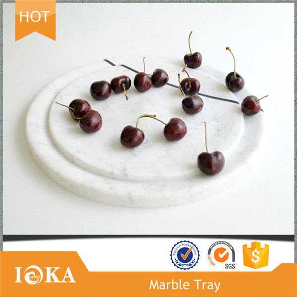 Elegant Modern Round White Marble Plate for Food /Fruit/Dinner