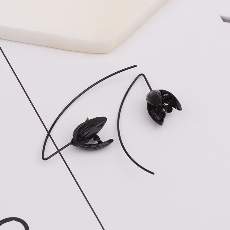 e557aba93 Fashion Women Black Plastic Flower Stud Earrings - Buy Flower Stud ...