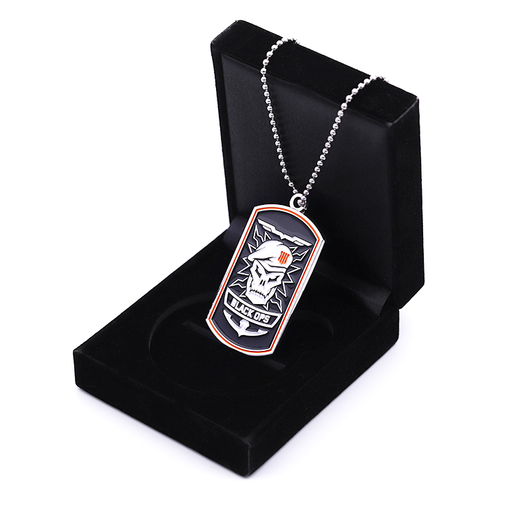 Customized 3D embossment soft enamel zinc alloy  dog tag/dogtag with ball chain