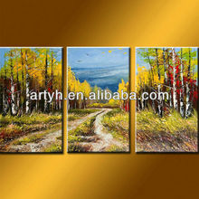 Latest designs modern handmade road with hill painting on canvas Wall Arts 3 pcs