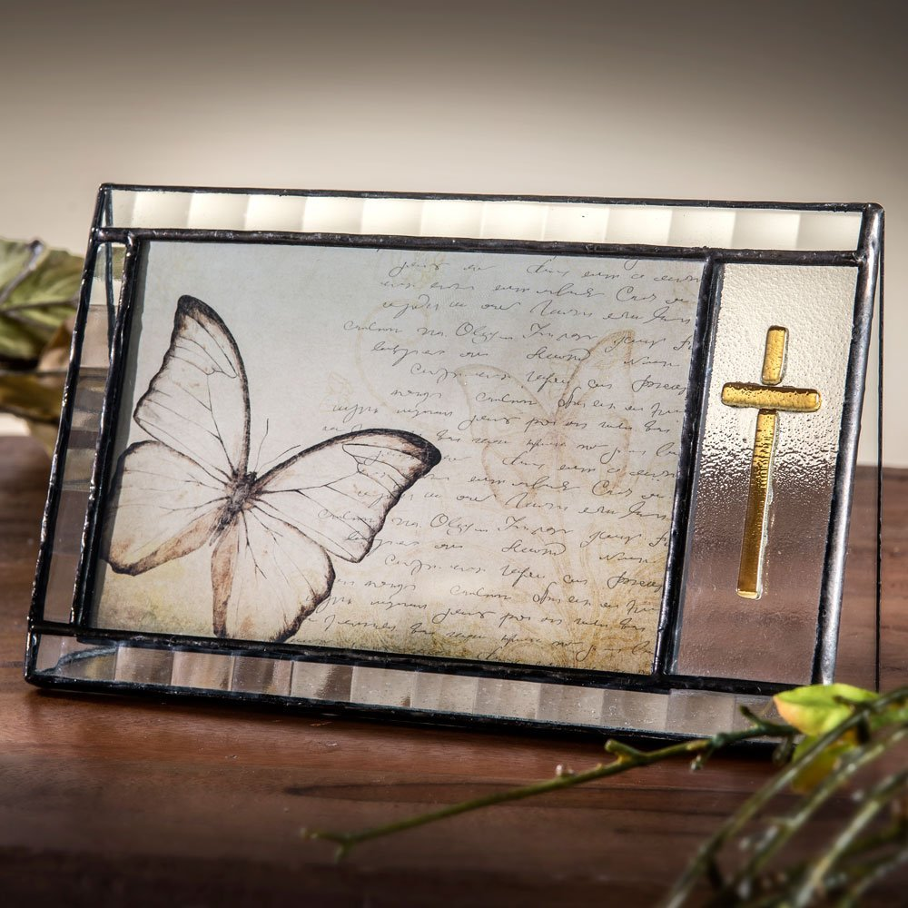 J Devlin Pic 367-46H Cross Picture Frame Stained Glass Tableop 4 x 6 Horizontal Photo Frame Gift for Baptism Christening Christian Religious Bereavement Memorial Gift