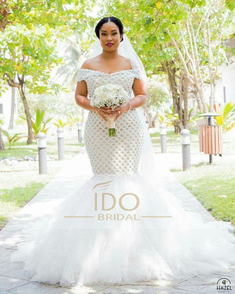 100% Real Photo Africa Luxury Off the Shoulder 2017 Mermaid Wedding Dresses with Crystal Tulle Bridal Gown Vestido de Festa RW1 2