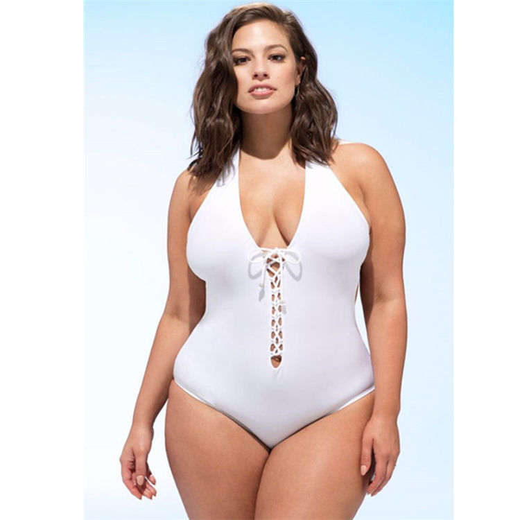 Solid Color Fashion Hollow Hanging Neck Piece Bikini Women'S Swimsuit Suit