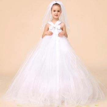 Ms61732k Panjang Maxi Desain Mode Anak Perempuan Putih Gaun
