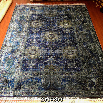 Dark Blue Persian Hand Knotted Turkish Silk Herek Handmade Rag Rugs