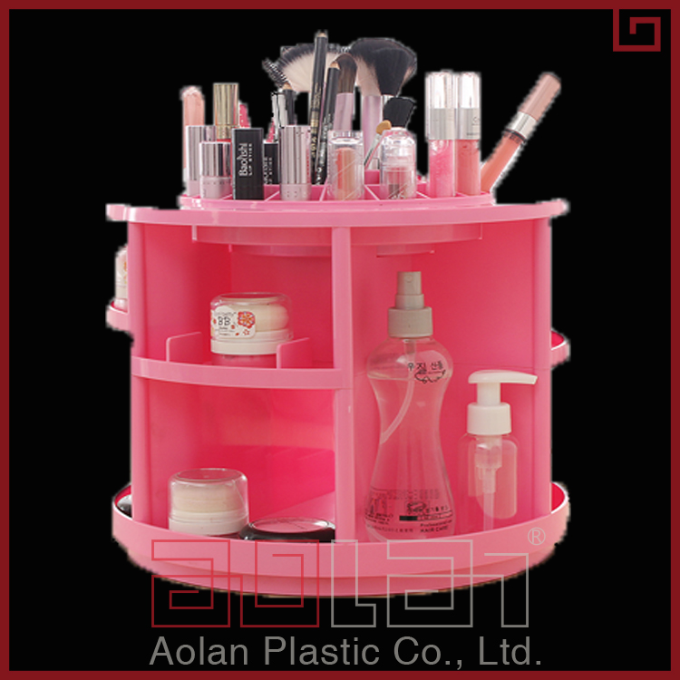 Candy Color Popular 360 Degree Plastic Cosmetic Organizer 2 tiers Rotating Makeup Storage Boxes