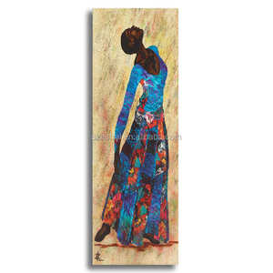 Hot handmade wall art two couplet abstract african women painting on canvas