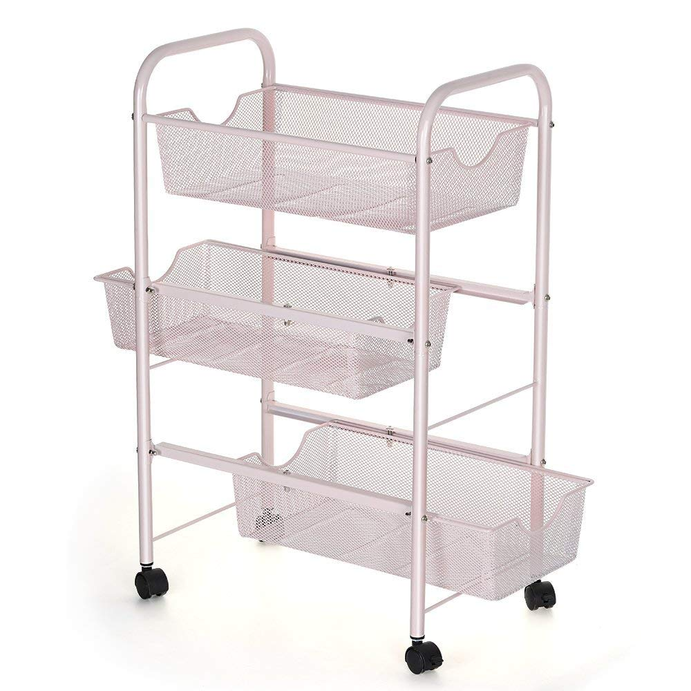 LIANTRAL 3-Tier Metal Rolling Storage Cart Useful for Office Kitchen Bathroom Trolley Rolling Storage Cart with Sliding Baskets (3-Tier)