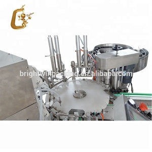 plc control automatic hand cream 30g round jar filling capping labeling machine with VIDEO