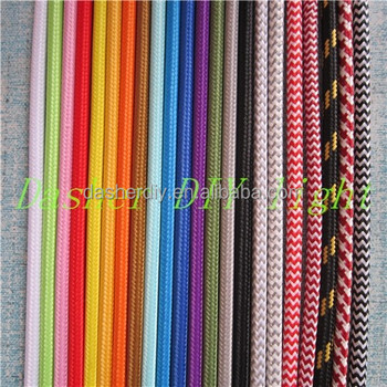 Decorative Lighting Fabric Cable Cotton Textile Braided Electrical Wire 2 Core Flexible Strand Electric