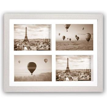 Sorbona White 3d Effect Wood Multi Aperture Photo Frame For 4 6x4 ...
