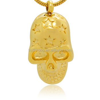 Gold stainless steel pet urn cremation pendant skull style ashes gold stainless steel pet urn cremation pendant skull style ashes biker style funeral supplier mens urn aloadofball Gallery