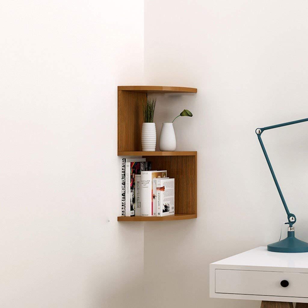 LTJTVFXQ-shelf Corner Bookshelf Shelf Racks Storage Rack Wall-mounted Shelf Wall Corner Bracket Triangle Wall Partition Corner Rack Deep Wood Color (Size : 53cm)