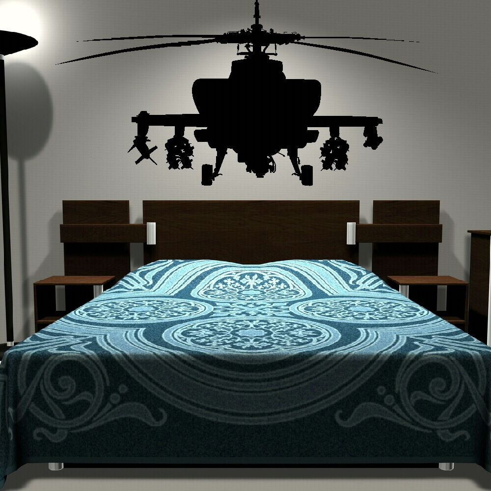 Removable Army Helicopter Sticker Bedroom Art Decal Boys