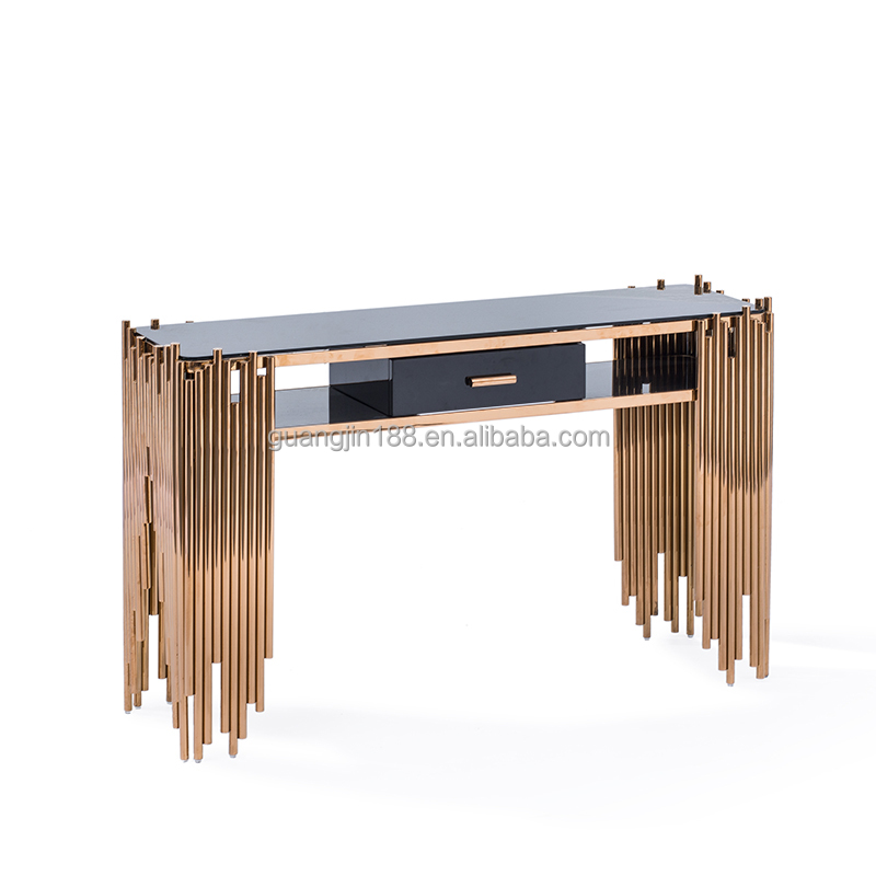 Moderne or couleur console table