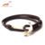 Cool Double Wrap Thin Leather Gold Anchor Nautical Rope Bracelet