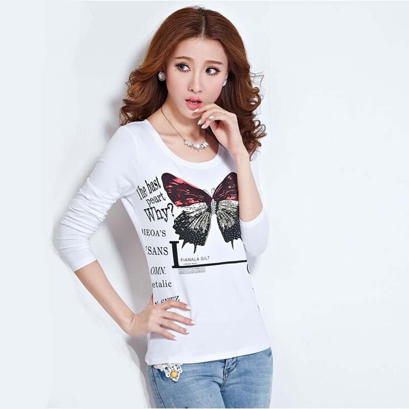 a20251aba11d5 Get Quotations · T Shirt Women Top Tee print T-shirt Woman Clothes Long  Sleeve Tshirt Camiseta Feminina