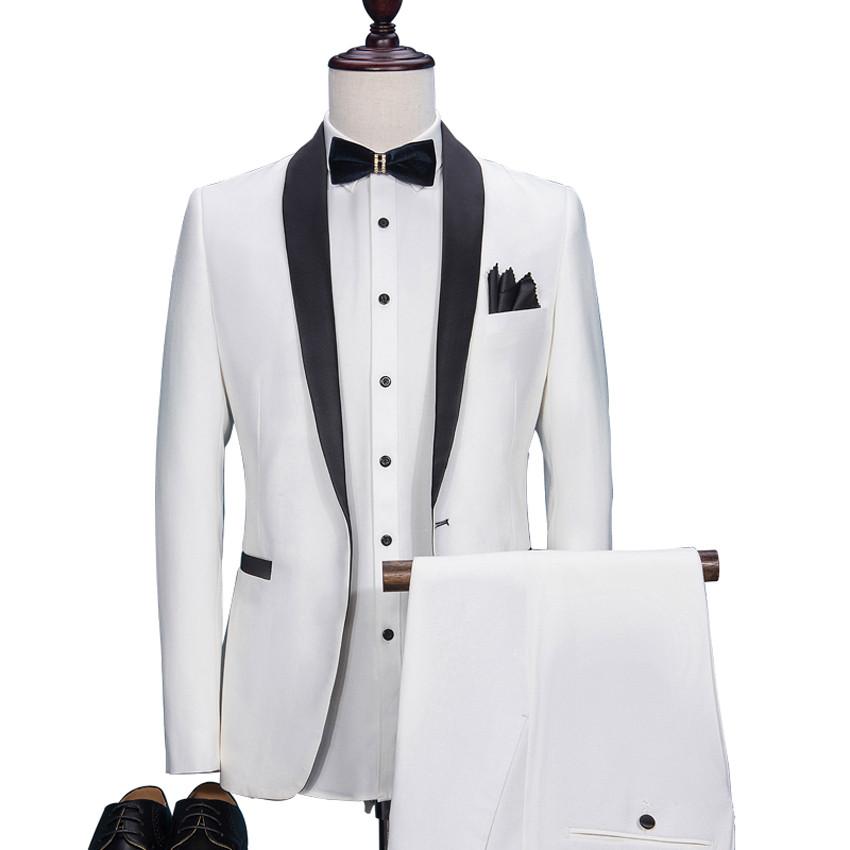 Hd041 2019 Fashion Putih Pengantin Pria Tuksedo Slim Fit Disesuaikan Dengan Jas Hitam Selendang Kerah Pernikahan Cocok Untuk Pria Jaket Celana