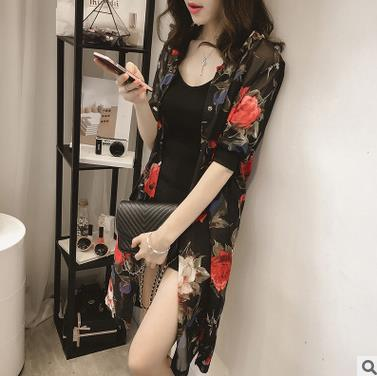 Retro style ladies long coat beautiful flower print design woman chiffon cardigan