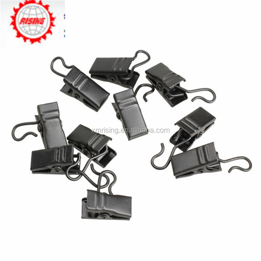 Rising stainless steel multi functional window curtain clothes metal clips with rings hooks