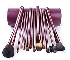 Megaga Makeup Brushes-Studio Quality Natural Cosmetic Brush Set with cup Holder Leather Case , 13 Count (Purple) by Megaga Cosmetic