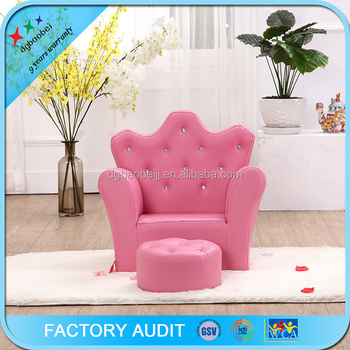 Pink Princess Foam Sofa Kids Throne Chair With Footrest