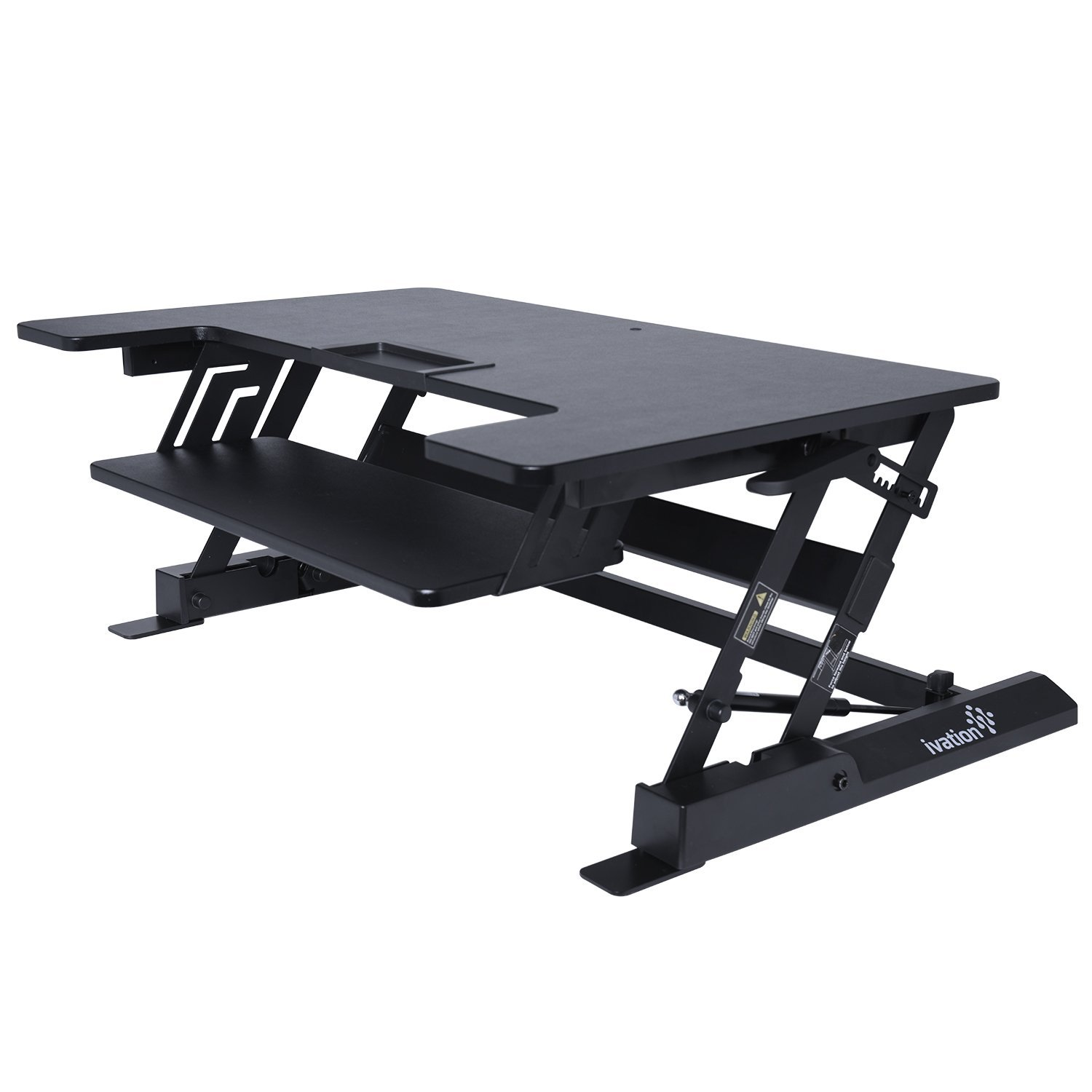 "Ivation 36"" Height-Adjustable Sit-to-Stand Desk with Dual Surfaces Sized & Positioned for Computer Monitors & Keyboard – Rests on Your Existing Desk & Simply Slides Between Sitting & Standing Heights"