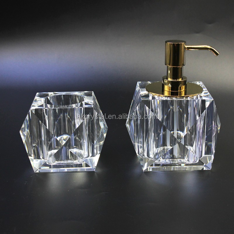 Hotel or home bathroom decoration, new style hand made replacement liquid soap dispenser crystal glass bottle