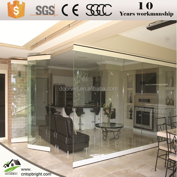 Exterior Safety Tempered Glazing Frameless Glass Folding Door Prices