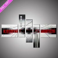Wholesale high quality abstract white silver oil painting for hotel decor