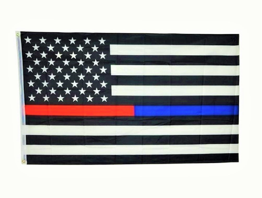 Thin Blue and Red Line USA American Flag for Police Law Enforcement Firefighters Emergency Rescue EMT EMS Paramedics 3x5 Feet Printed Flag with Grommets by TrendyLuz Flags