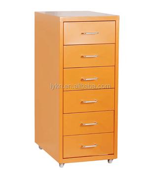 Kening Mobile Pedestal Storage Cabinet 6 Drawer Metal Thin File High Quality Drawers