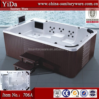 Biggest Outdoor Spa Bathtub For 10 Person, Wood Tub Skirt Adult French Spa  Products,