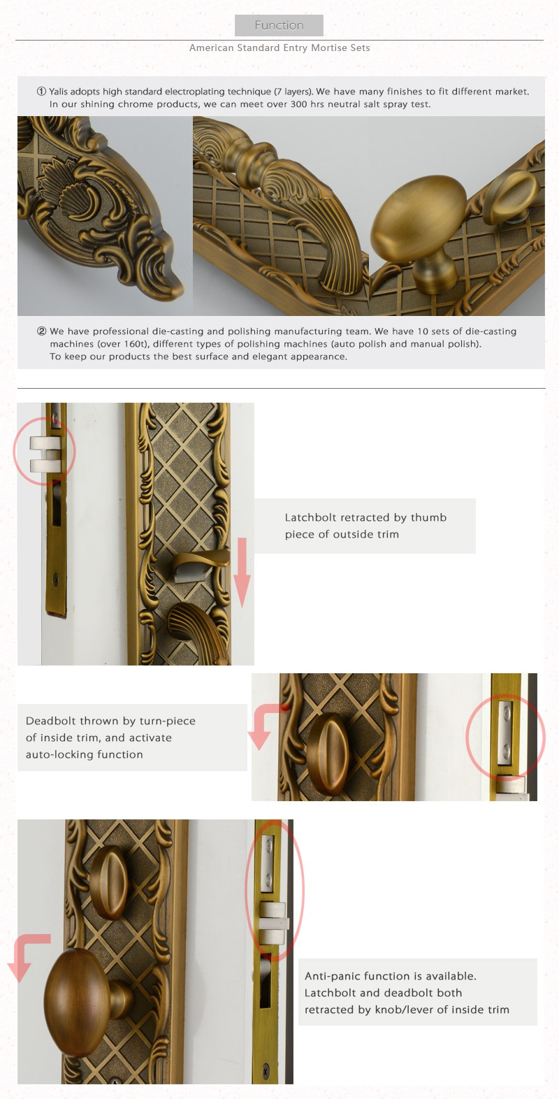 Entrance 580mm Long Plate Villa Front Door Handle And Lock Set With ...