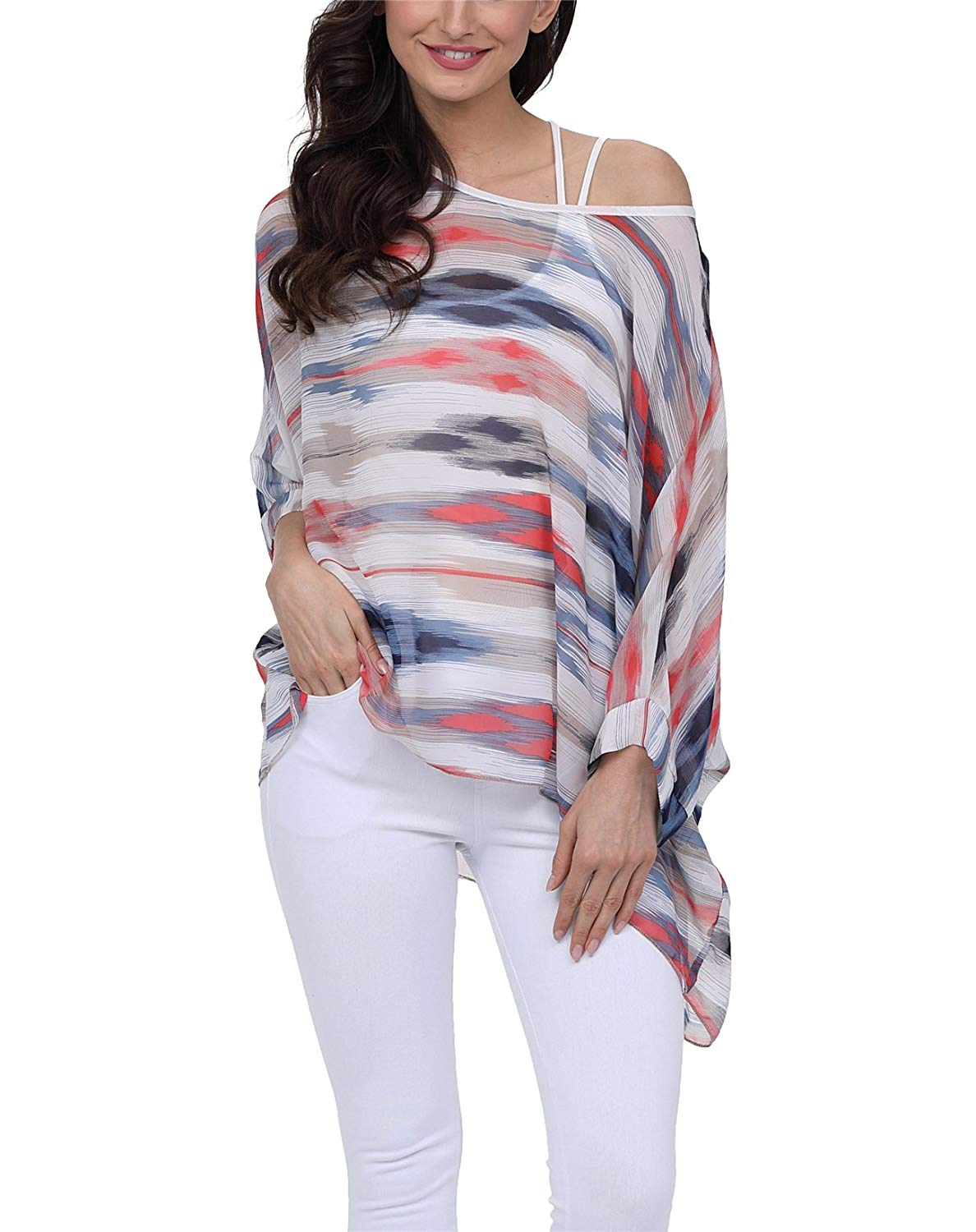 e77658157fa7 Get Quotations · DearQ Boho Floral Chiffon Blouse Casual Plus Size Batwing  Blouse Hippie Semi Sheer Loose Top