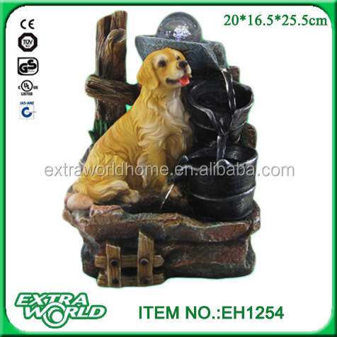 Indoor Labrador Dog Sculpture Statue Water Fountain With Pump