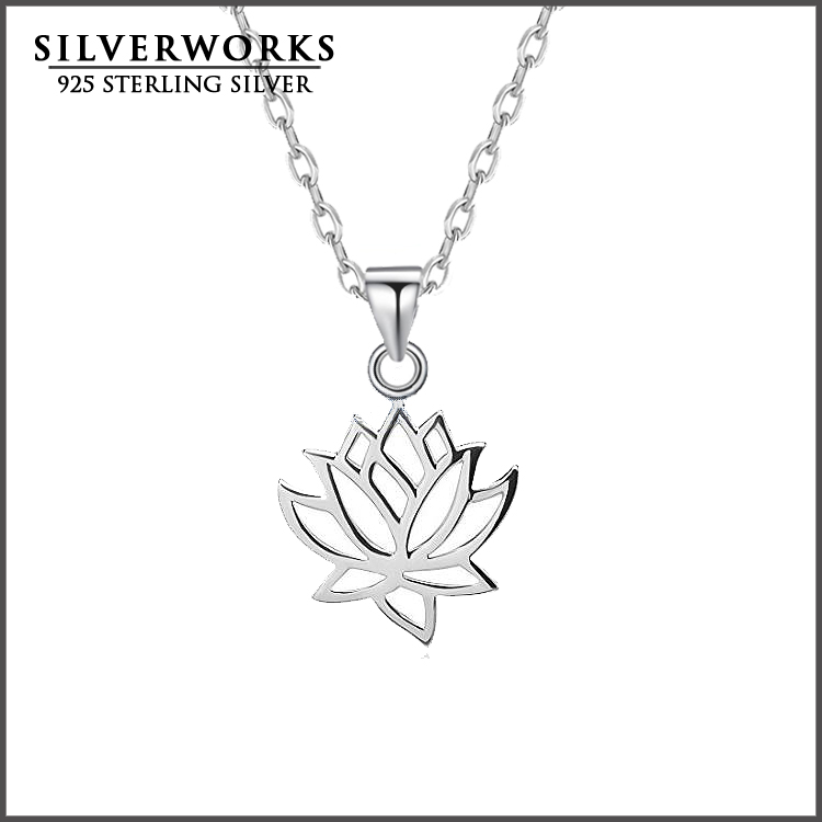 wholesale 925 sterling silver Hollow Lotus Flower Pendant Yoga Namaste Pendant