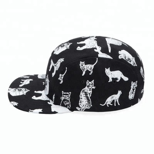 Guangdong Guangjia custom 2018 new style cat character black 5 panel 2 tone printed camping cap hat