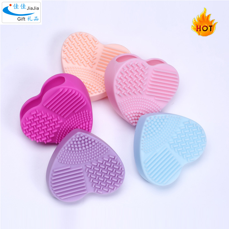 Multi-purpose Heart-shaped Insert Cleaning Brush Silicone Makeup Brush Cleaner Mat