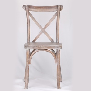 Oak wood flat seat rustic white dining cross back chair