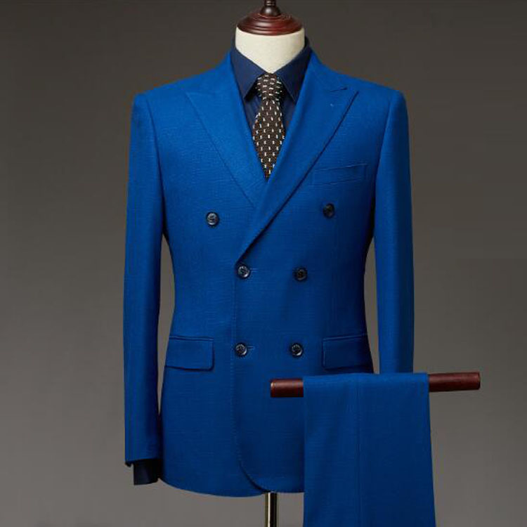 Hot selling 100% italiaanse wol stof voor mannen suit custom tailor made double breasted ontwerp suits