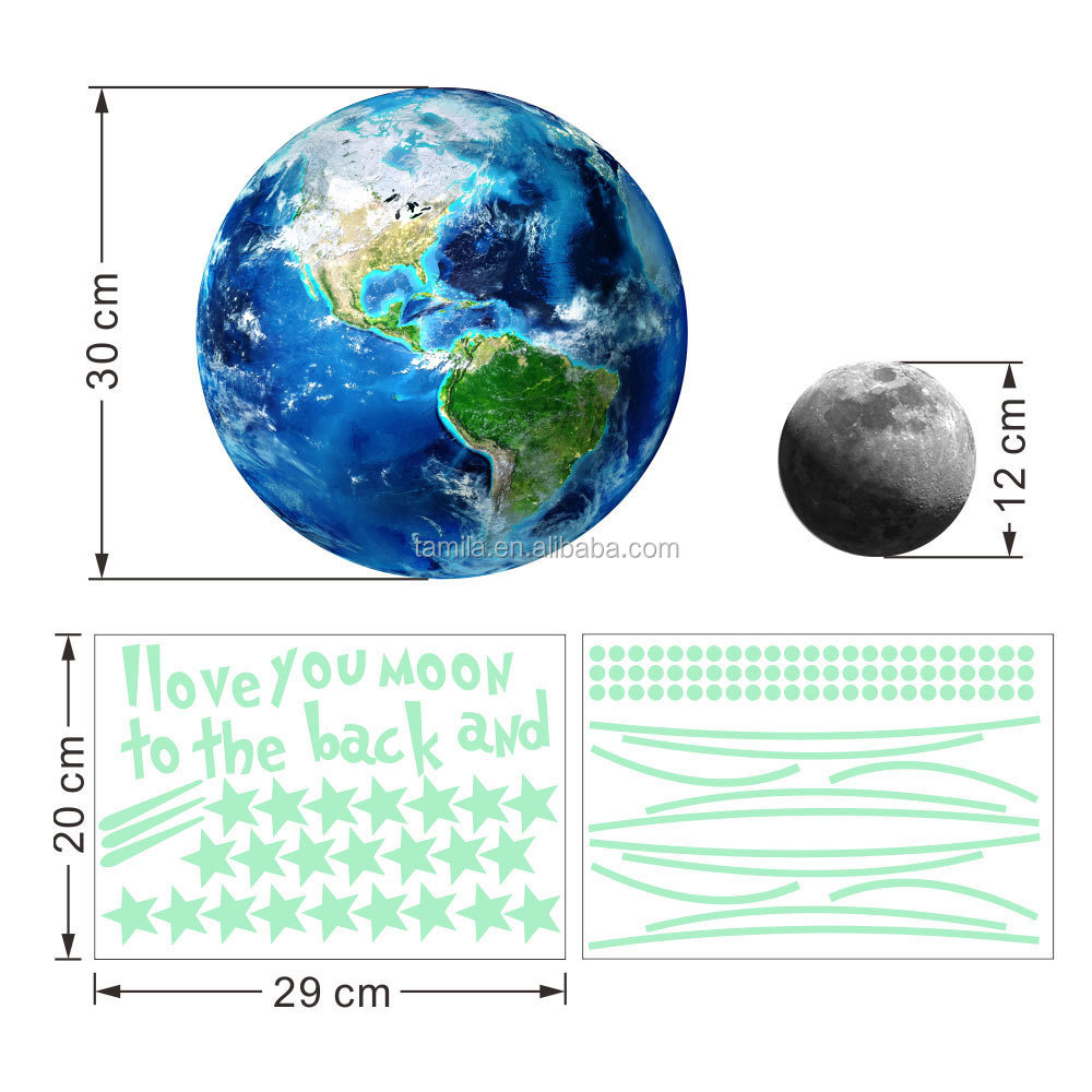 Glow In The Dark Moon+Earth Set Wall Stickers For Kids Bedroom or Birthday Gift