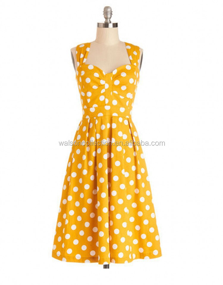 instyles appearl women ladies dresses HALTER POLKA DOT 50's PINUP ROCKABILLY VINTAGE SWING PROM PARTY yellow DRESSES