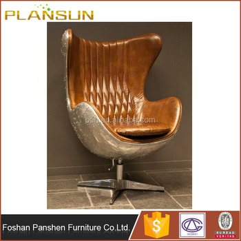 Mid Century Arne Jacobsen Aviator Aluminium Steampunk Spitfire Vintage Leather  Egg Chair